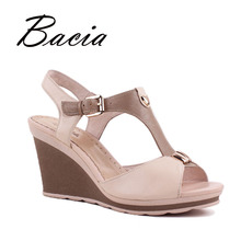 Bacia High Wedges Fashion Pink Sandals Pumps Luxury Genuine Leather Sheepskin Sandals Handmade Summer Fashion Ladies Shoes VD012(China)