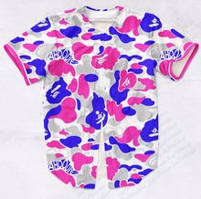 Real AMERICAN USA Size Custom Made Cotton Candy AP Print Fashion 3D Sublimation Print  Baseball Jersey Plus Size