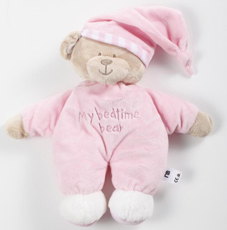 New Children's Christmas Gifts 30cm Pink Blue Bear Soft Plush Toy Sleep Bear Baby Placate Toy Gifts for Girls(China)