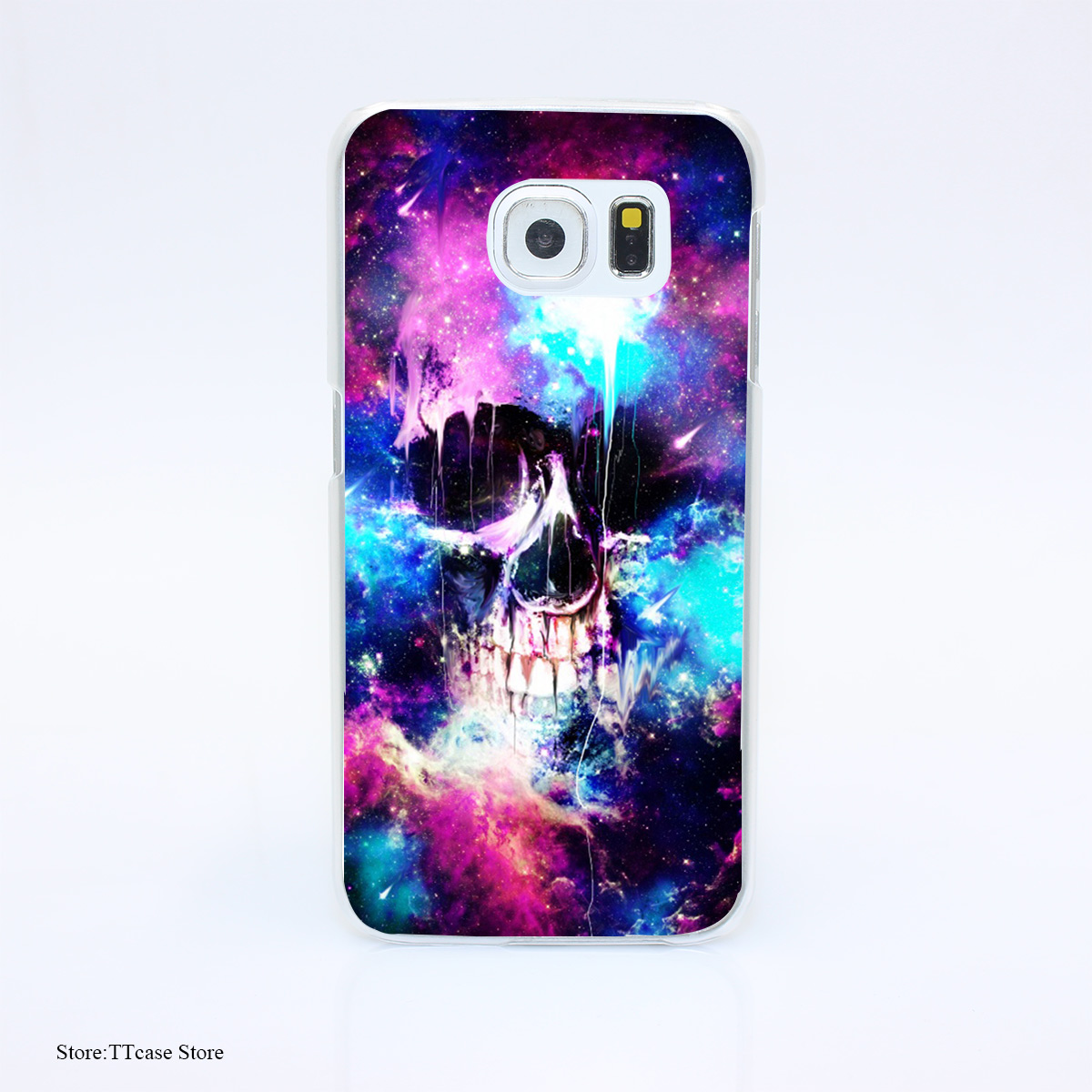 3100G Space Skull Ttj Print Hard Transparent font b Case b font Cover for Galaxy S3