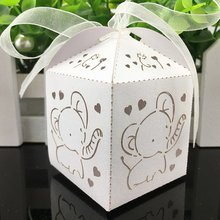 100Pcs/lot Cartoon Elephant Laser Cut Candy Gift Boxes Bonbonniere Wedding Commemorate Party Candies Sweet Jewelry Decor Box Bag