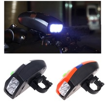 Universal 3 LED Bike Light Bicicleta Bicycle Light White Front Head Light Cycling Lamp + Electronic Bell Horn Hooter Siren