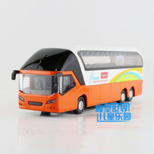 New Diecast Metal New York Double-decker toy bus/With light and sound/Pull back Educational/For children's gift or collection