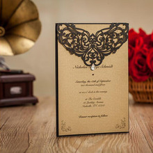 1pcs Sample Laser Cut Art Shiny Crystal Wedding Invitations Cards with Envelopes and Seals Hollow Customizable Free Printing