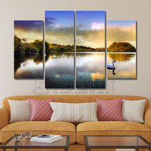 Unframed 4 Panel The Raging Waves The Goose Swim on The Lake At Sunset Landscape Oil Painting Print on Canvas for Home Decor