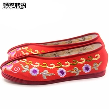 Vintage Women Flats Shoes Chinese Bride Wedding Old Beijing Satin National Breathable Soft Dance Single Ballet Shoes(China)