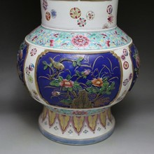 Qing Dynasty pastel outline ingold engraved flower bird Binaural bottle elaborately hand-work crafts home decoration  collection