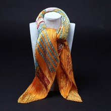 Korean Fashion Women scarf /Fold wrinkle Pleated Printing square silk scarves 70*70cm / Wholesale