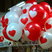 50pcs  Promotion!  White Red Lovely round heart wedding balloons  Birthday wedding Decoration  Marriage Balloons latex ballute