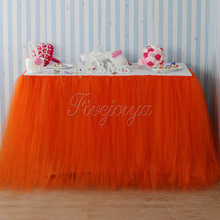 Coral Orange Tulle Tutu Table Skirt 100cm x 80cm Tulle Tutu Skirt for Wedding Favors Party Baby Shower Decoration(China)
