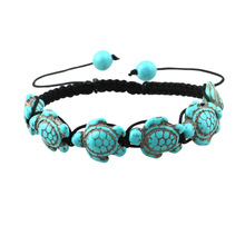 2017 Hot selling men tortoise bracelet green howlite turtle charm bracelet braided design adjustable bead bracelet jewelry(China)