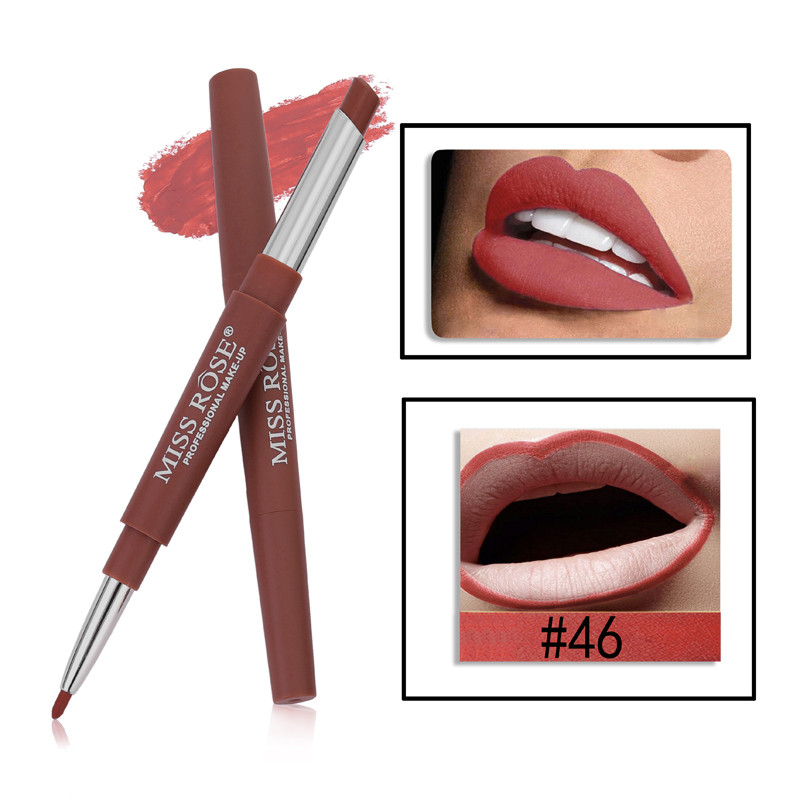 46 8 Color Double-end Lip Makeup Lipstick Pencil Waterproof Long Lasting Tint Sexy Red Lip Stick Beauty Matte Liner Pen Lipstick