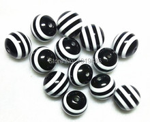 Free shipping!100pcs/lot Black and White 20mm striped resin beads for chunky necklace and bracelet(China)