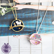 New Brand Pink Blue Universe Cute Cat Pendant Necklace In Pendant Nacklaces For Women Jewelry Funny Gift(China)