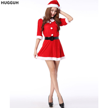 HUGGUH Brand New Christmas Dress Halloween Costume Santa Claus Cosplay Costume Sexy Women Red Dress CK169515(China)
