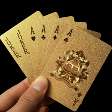Golden Playing Cards Deck gold foil poker set Magic card 24K Gold Plastic foil poker Durable Waterproof Cards magic81150(China)