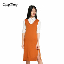 QingTeng Winter Long Sweater Vest Female V Neck Sleeveless Casual Warm Jacket Womens Jumpers 2017 Knitted Thick Dress Wool