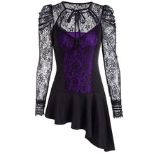 Buy short lace dress women black purple O neck gothic plus size dress mini asymmetrical long Sleeve patchwork sexy Dress 2018 for $17.58 in AliExpress store