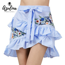 AZULINA Vintage Floral Embroidery Blue Striped Skirt Women 2017 Summer Ruffle Mini Skirt Casual Ladies A Line Skirt faldas mujer