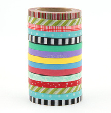 New 5mm wide decorative tape Masking Washi Tapes adhesive tape sticker for Home Decor DIY Album Scrapbook washi tape lot 15X