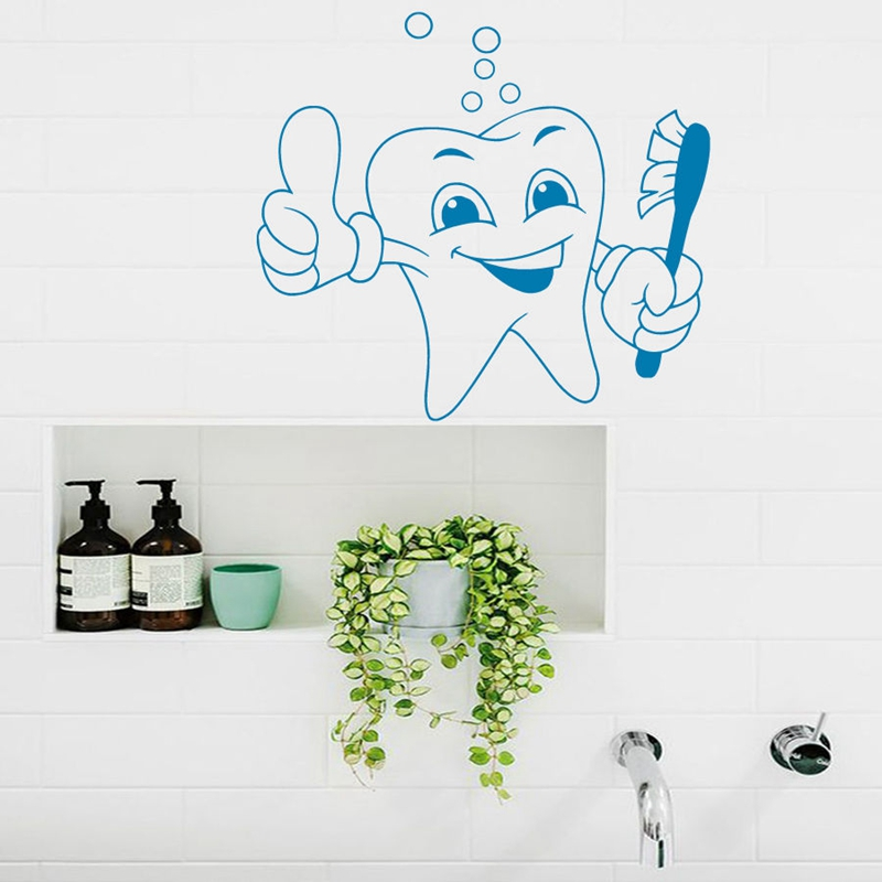 DCTAL Tooth Teeth Sticker Dentist Decal The Tooth Fairy Poster Vinyl Art Wall Decals Pegatina Decor Mural Teeth Sticker