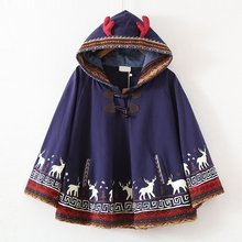 2017 Autumn new Milu deer Printed Young Girls Students Cape Hood with antler Harajuku Cloak Cotton Fresh Navy blue Hoodies(China)
