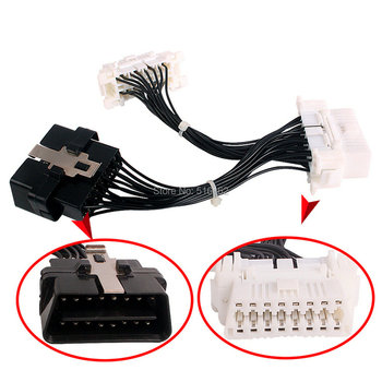 Nueva llegada OBDII OBD-II OBD 2 16 Pin OBD2 16 Pin ELM327 macho a doble femenino Extension Cable adaptador