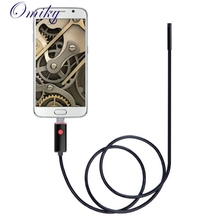 Top Quality Black 2in1 USB Endoscope Inspection 7mm Camera 6 LED Light HD IP67 Waterproof 2M For Android Detection Webcams MAY25