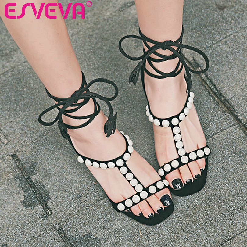ESVEVA 2017 Beading Lace Up Gladiator Summer Shoes Sexy Black Women Sandals Square High Heel Sandals Wedding Shoes Size 34-43<br>