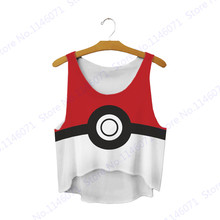 Red Pokeball Crop Tank Tops Cartoon Pokemon Go Surfing Beach T Shirt Sleeveless Vest Loose Camisole Ladies Small Tape Sleeveless(China)