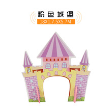 p185 Wooden track accessories pink castle wooden Thomas track combination scene children model building structures scene toys(China)