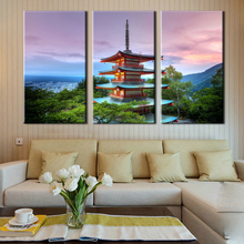Large Canvas Wall Art 3 Panel Modern Painting And Prints Fuji Mountain Sunset Tower Landscape Japanese Picture Unframed