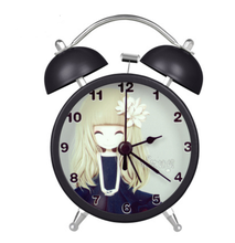Lovely Carton Girls printings Alarm Clocks Mini Silent Students Alarm Clocks with Backlight Simple Children Alarm Clocks