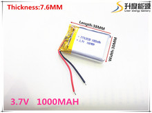 Free shipping 3.7 V 763038 lithium-ion polymer battery 1000 mah vehicle traveling data recorder LED speakers toys