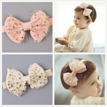 2017 Korean Luxury newborn kid star Gauze Cute headband Soft Bow toddlers Elastic Hair band Mesh Cotton Bow Hair Accessories D44
