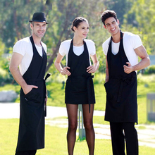 Fashion Man Woman Apron Cotton Antifouling Oil-proof Kitchen Apron Cooking Bbq Chef Aprons Black With Pockets High Quality Gift