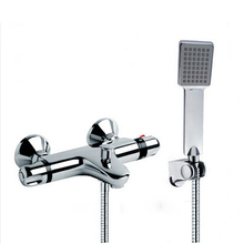 Bathroom NEW Shower Faucet Set Bathroom Thermostatic Faucet Chrome Finish Mixer Tap W/ ABS Handheld Shower Wall Mounted