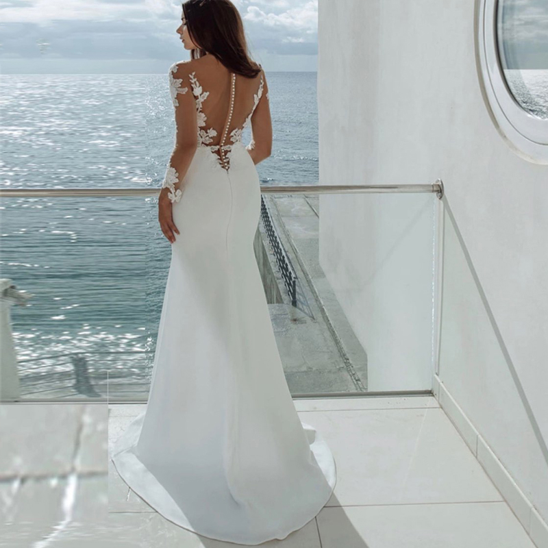 Elegant Ivory Wedding Dresses 2021 Sexy Illusion Scoop Neck Lace Appliques Long Sleeve Stain Bridal Gown  vestido de noiva
