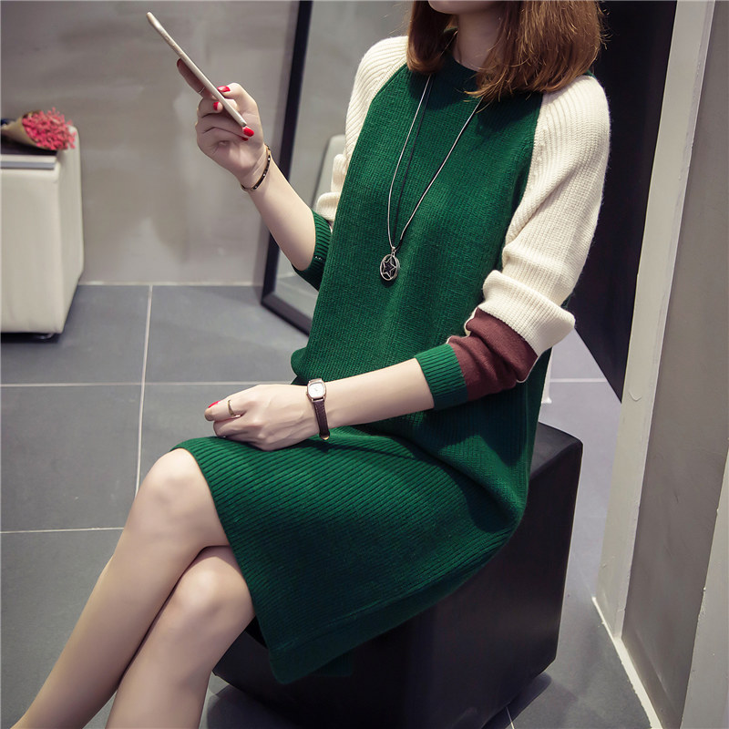 Long hair sweater pregnant women skirt head loose Korean new autumn and winter maternity dress shirt long shirt<br>