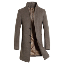 Men's Wool Coat Slim Fit Middle Long Coat Jacket Solid Color Warm Windbreaker Jacket Overcoat Winter Woolen Coat(China)