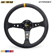 AUTOFAB - 350MM PVC Deep Dish Drifting Sport Racing Steering Wheel Aluminum Frame ( yellow red blue ) AF-FXP05OM-P(China)