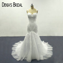 Buy 2017 Mermaid Lace White Wedding Dresses Sweetheart Neckline Appliques Spaghetti Straps Bridal Gowns for $167.00 in AliExpress store