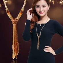 European style fashion collocation of shiny string beads necklace high-grade crystal long tassels women(China)