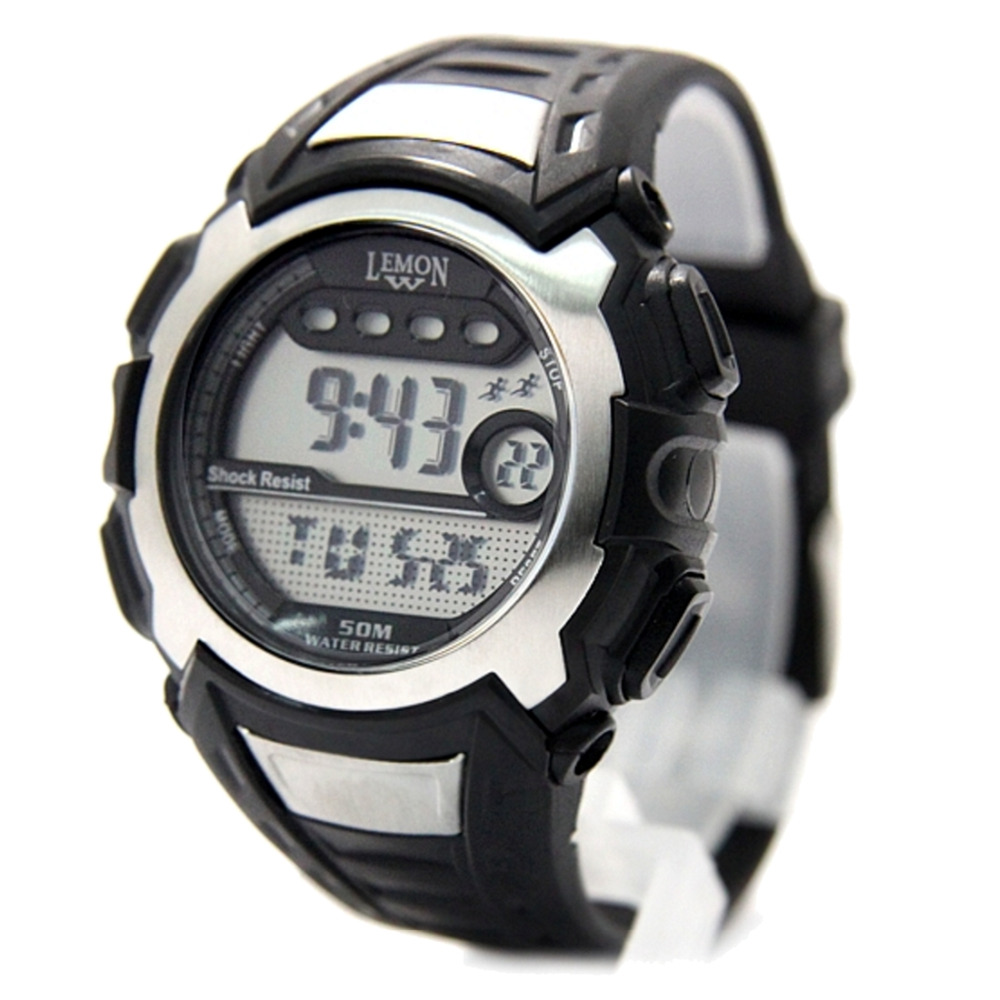 Wholesales 6pcs. /Lots Multiple Color DW326 Blue / Black Watchcase Alarm BackLight Water Resist Swimming Men Sport Digital Watch<br>