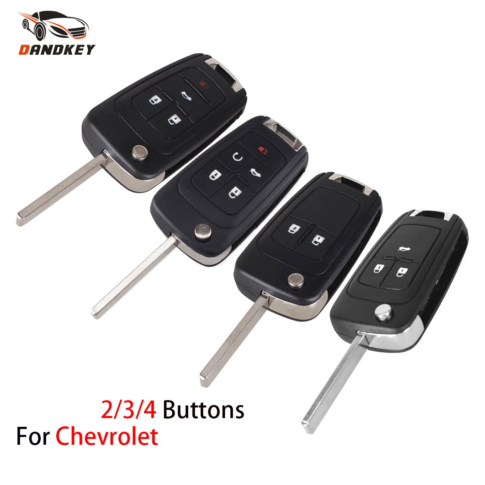DANDKEY Folding Flip Replacement Remote Key Shell Fob 2 3 4 5 Buttons For Chevrolet Cruze Remote Key Case Keyless Uncut Blade(China)