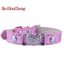 Buy Fashion Bling Rhinestones Dog Collar Adjustable Buckle Heart Shaped Accessory 5Colors Pu Leather Puppy Pet Necklace for $2.10 in AliExpress store