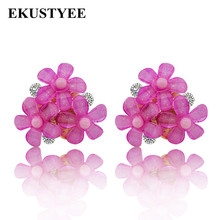 Top Design Women Fashion Crystal Earrings Pink Red Black Brown Flower Stud Earrings Rose Earrings for Party