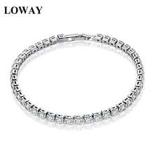 LOWAY Women Chain & Link Bracelets Gold Color 4mm Zirconia Office Lady Vacation Fashion Jewelry SZ3859