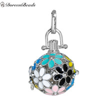 DoreenBeads European Style Bohemia Enamel Multicolor Copper Wish Box Pendants, Approx4.2x2.5cm(Fit 16mm Bead),1PC