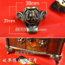 38*31mm 10pcs desk edge corners foot vintage bronze wooden jewelry box cabinet corner brackets protect angle wholesale(China)